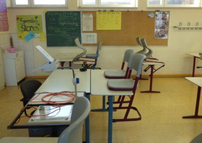 Klassenraum und Schulgebäude